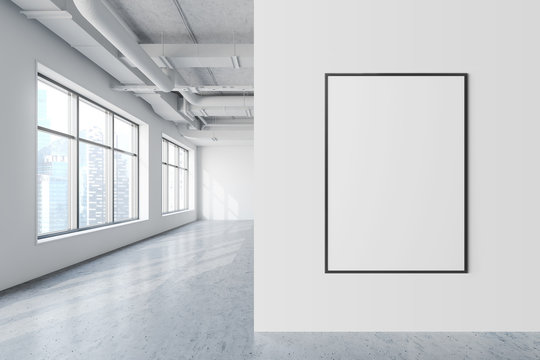 Mock up poster in white industrial style office