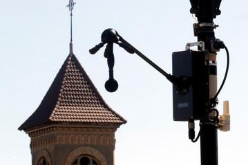 "A newly installed ""noise radar"" is seen at Villeneuve-le-Roi"