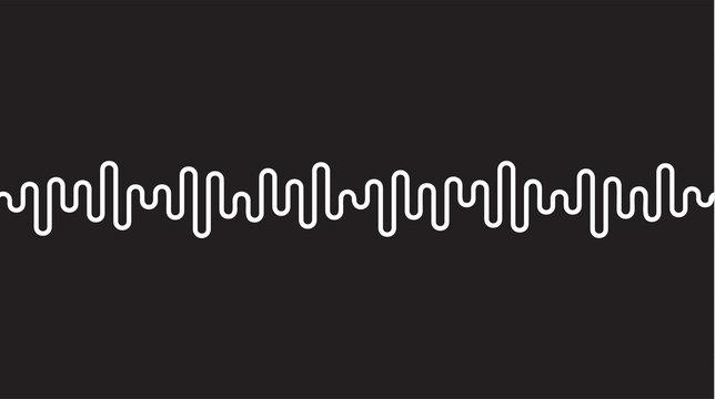 White curvy line on black background. Radio wave or music equalizer, sound wave. Stylized Cardiogram, interface design for medical equipment, vector illustration.