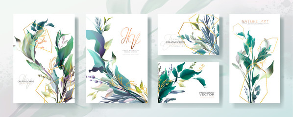 Wall Mural - Wedding invitation frame set; flowers, leaves, watercolor, isolated on white. Sketched wreath, floral and herbs garland with green, greenery color. Handdrawn Vector Watercolour style, nature art.