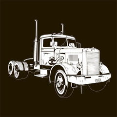 retro truck classic diesel vehicle cargo isolated semi trailer truck 18 wheeler tractor big rig lorry white on black