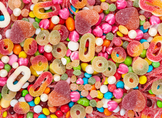 Colorful sweets and different colored candies.