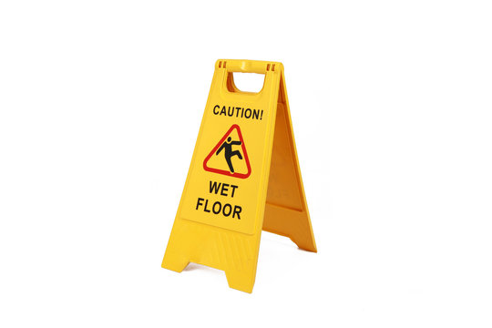 Yellow wet floor sign isolated  on white  - cleaning service  safety sign