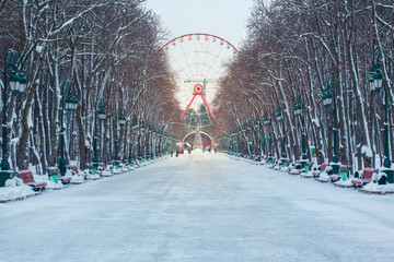 Wall Murals Amusement Park Ferris wheel in an amusement park, winter, season, evening