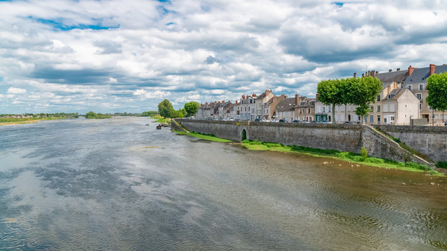 Blois in France, panorama of the city, view from the river Loire