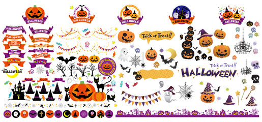 Halloween seasonal decoration and elements vector set