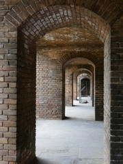Fototapeta Close up of the arches inside Fort Jefferson at the Dry Tortugas National Park in Florida.