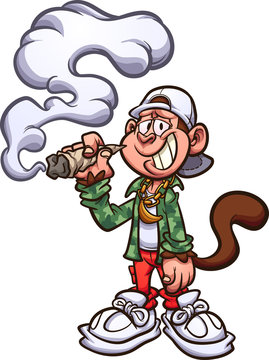 Cool cartoon monkey with swag, smoking a marijuana joint clip art. Vector illustration with simple gradients. All in a single layer.