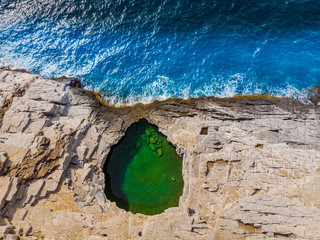 Wall Mural - Aerial view at natural pool Giola, Thassos island, Greece