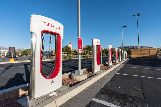 Row of Tesla electric vehicle charging stations near Interstate 15 between Los Angeles and Las Vegas on May 16, 2018 in Primm, Nevada, USA.