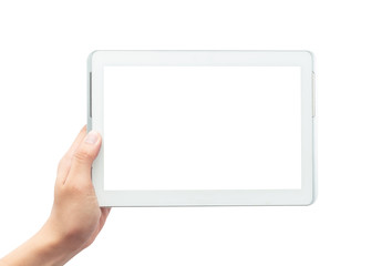 Male hand holding the white tablet pc computer with blank screen isolated on white background with clipping path Wall mural