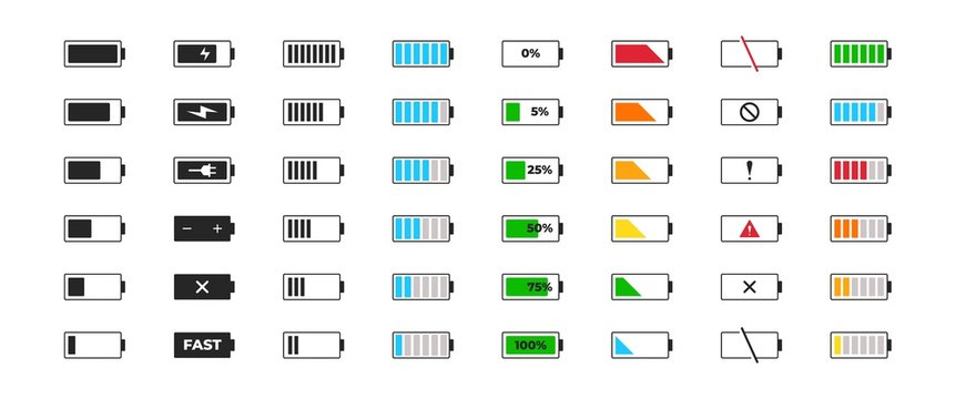 Battery charge icon set. Powered indicator black charge level gsm, charging empty batteries and low battery power icons. Vector full low and empty charge status smartphone UI elements