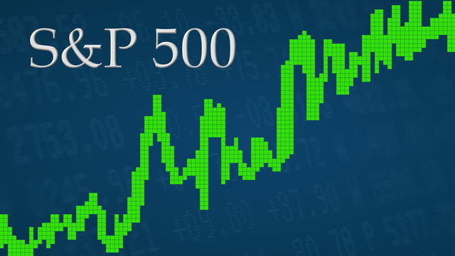 The American stock market index S&P 500 is going up. The green graph next to the silver S&P 500 title on a blue background is showing upwards and symbolizes the ascent of the U.S. index.