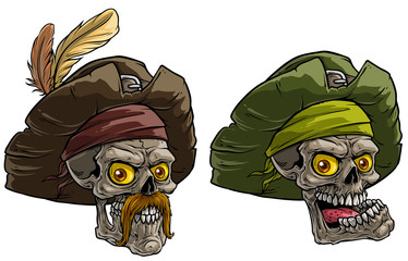 Cartoon detailed realistic colorful scary human skulls in pirate hat with feathers and mustache. Isolated on white background. Vector icon set.