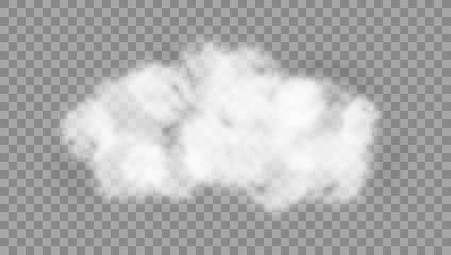 White Realistic Cloud Isolated On Transparent Background