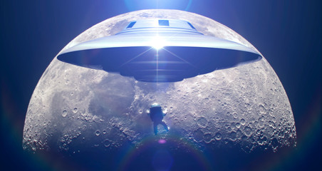 Flying saucer prevent astronaut landing on moon - photomanipulation - 3d rendering