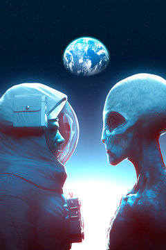 Face to face between alien grey and astronaut with the earth in backround - 3D rendering