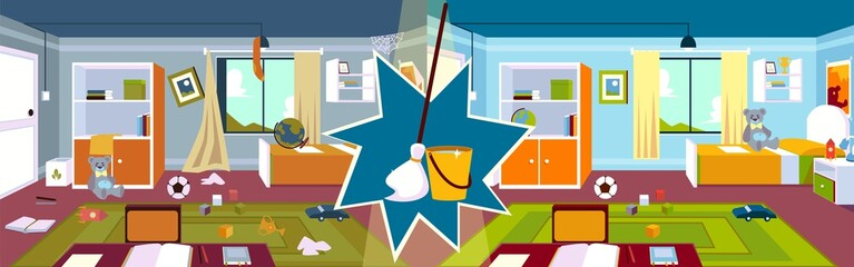Interior of the kids room before and after cleaning with mop and bucket in a cartoon style.