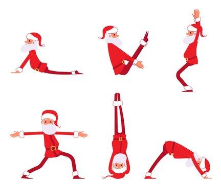Set of Santa Claus doing yoga exercises cartoon style