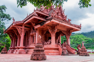 Wat Sila Ngu with the red temple Wat Ratchathammaram on Koh Samui island in Surat Thani, Thailand.