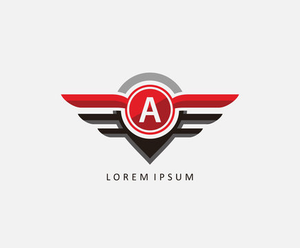 Auto wings with letter A, Car and automotive vector logo template.