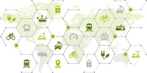 new mobility icon concept: worldwide individual transportation alternatives, e-car, e-bike, scooter, car sharing - vector illustration Fototapete