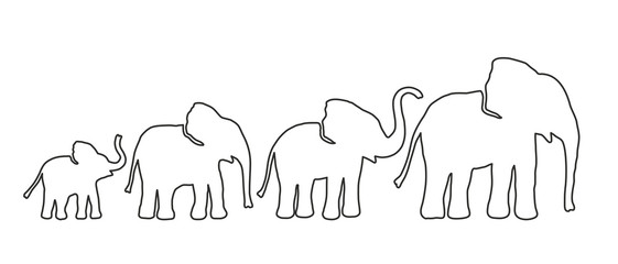 Set of Different Elephant. Lines strength Customizable. Vector