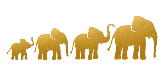 Set of Golden Elephant Silhouettes. Vector