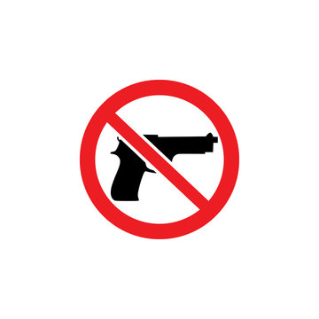 Ban on weapons, no gun sign and icon.