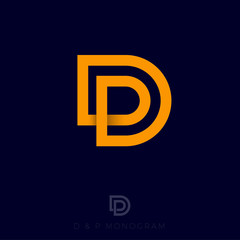 Fototapeta DP logo. D and P yellow monogram. Original symbol on black background. Web, ui icon. obraz