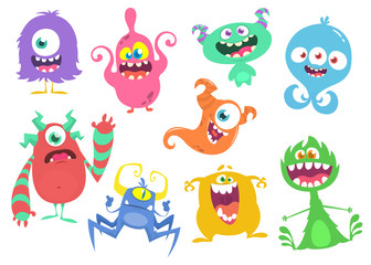 Door stickers Monster Funny cartoon monsters set. Vector illustration