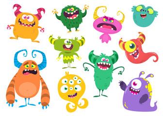 Photo sur Aluminium Creatures Funny cartoon monsters set. Vector illustration