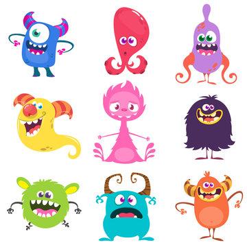 Funny cartoon monsters set. Vector illustration