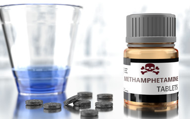 Methamphetamine as harmful, negative and damaging aspect of life, unhealthy poison to the soul that affects people mind and body, harms mental health, symbolized as a bad medicine, 3d illustration