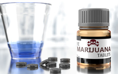 Marijuana as harmful, negative and damaging aspect of life, unhealthy poison to the soul that affects people mind and body, harms mental health, symbolized as a bad medicine, 3d illustration