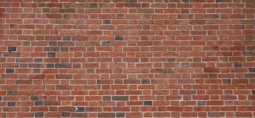 Fotobehang - Old red brick wall background, wide panorama of masonry