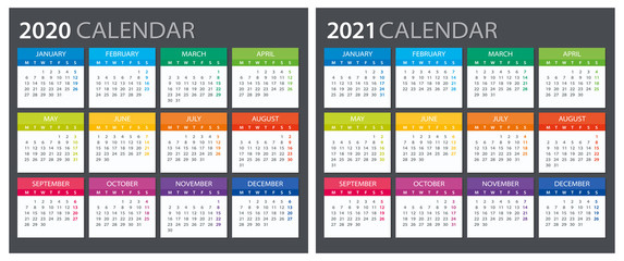 2020 2021 Calendar - illustration. Template. Mock up Fototapete