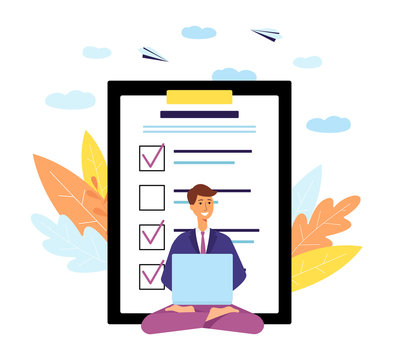 A man sits at a laptop in a yoga pose next to the questionnaire.