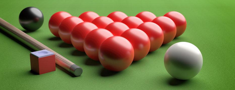 Snooker balls set on green felt. 3d illustration