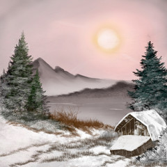 winter landscape with a house, digital painting