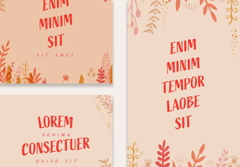 Social Media Post Layout Set with Red Illustrative Flowers