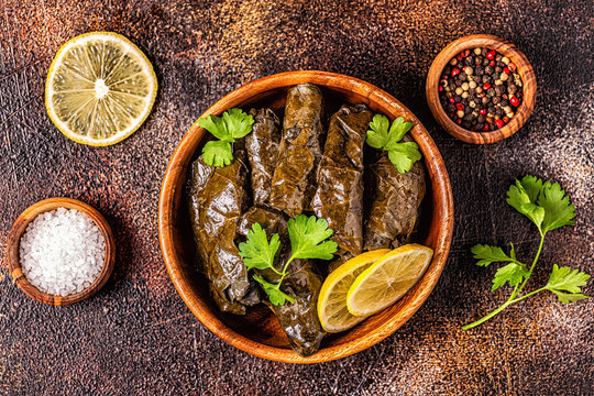 Dolma, stuffed grape leaves with rice and meat.