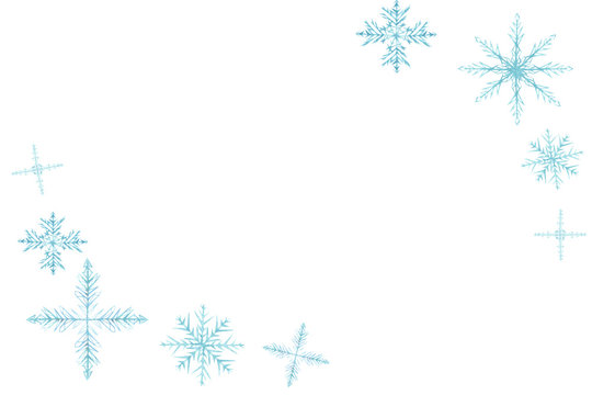 Watercolor hand painted winter frozen frame with different snowflakes in the corners for invitations and greeting cards with the space for text