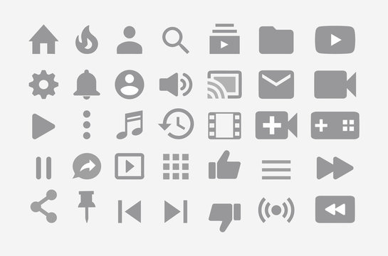 youtube vector interface  icons big set