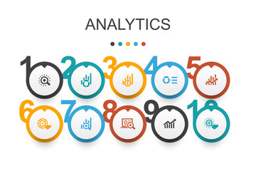 analytics Infographic design template.linear graph, web research, trend, monitoring icons