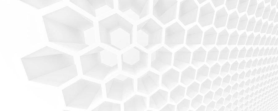white honeycomb tridimensional background, 3d illustration