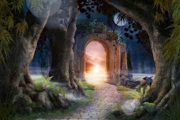 Poster Zwart Archway in an enchanted fairy garden landscape, can be used as background