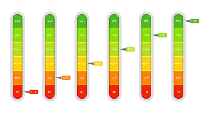 Bar of meter with progress level from red to green. Measure ruler diagram of rating.Verticalscale speedometer with low and high level. Concept graphic slider infographic. vector illustration