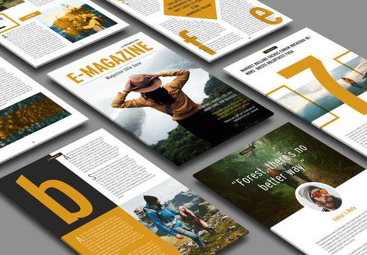 E-Magazine Layout with Orange Accents