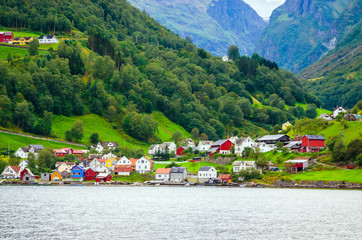 Small village on the coast of Sognefjord, one of the most beautiful fjords in Norway